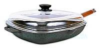 Чугунная сковорода гриль с крышкой БИОЛ 28 см.