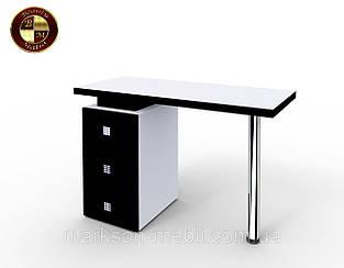 """Маникюрный стол M110  """"Триумф"""" белый с черными фасадами"""