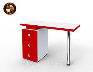 """Маникюрный стол M110  """"Триумф"""" белый с красными фасадами"""