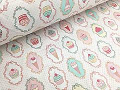 """Ранфорс """"мороженки разноцветные на белом"""" 220 см"""