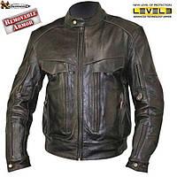 Мужская мотокуртка Xelement B7496 со съёмной защитой локтей плеч Level-III из кожи буйвола коричневого цвета