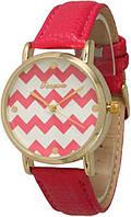 Женские кварцевые наручные часы Geneva Красные с зигзагами