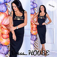 Платье - майка Gucci облегающее миди вискоза разные цвета Rsa2239, фото 1