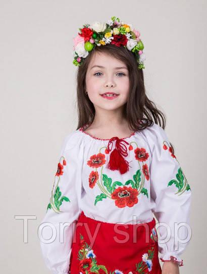 Вышитая блуза для девочки узор - маки