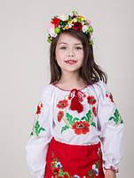 Вышитая блуза для девочки узор - маки, фото 1