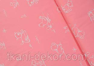 Сатин (хлопковая ткань) на розовом очертания зверей