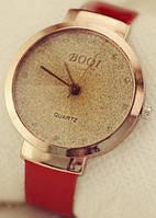 Женские кварцевые наручные часы красные с золотым