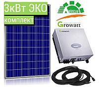 3 кВт ЭКОНОМ комплект, сетевая солнечная электростанция под ключ, мощностью 3000 Вт