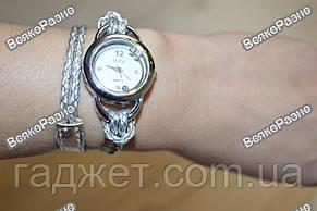 Женские часы IEKE с переплетенным длинным ремешком серебряного цвета., фото 2