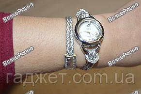 Женские часы IEKE с переплетенным длинным ремешком серебряного цвета., фото 3