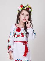 Вышитое детское платье  на белом полотне с цветами, фото 1