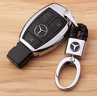 Кожаный брелок для автоключей с логотипом Мерседес (Mercedes-Benz)