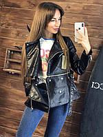 Кожаная женская куртка косуха с поясом 200190
