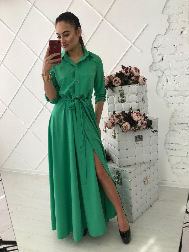 f19c3cfd5425047 Купить Летнее платье-рубашку в пол с рукавом 3/4 34031244 недорого в ...