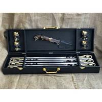 Подарочный комплект №1 (набор шампуров, нож, 4 чарки) в кейсе из кожзама