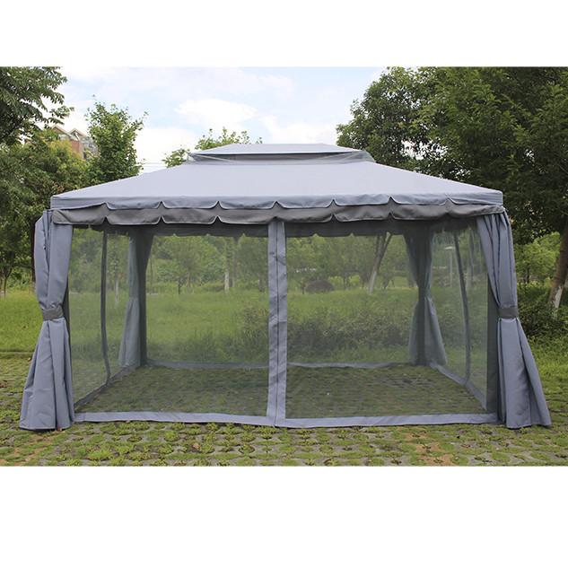 Садовый павильон «DU-063» 3х4 м. серый с москитками и шторами 7198