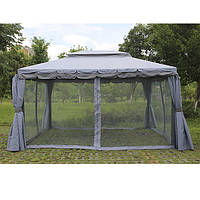 Садовый павильон «DU-063» 3х4 м. серый с москитками и шторами 7198, фото 1