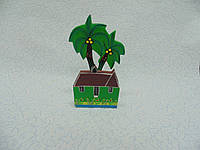 Салфетница деревянная Пальма размер 17*11*6 см