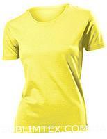 Футболка женская цветная для сублимации, термоперенос (флекс-пленка), размер XXL, цвет желтый