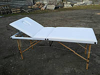 Стол массажный деревянный  3х секционный, кушетка, для наращивания ресниц, шугаринга, косметологии, тату