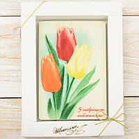 "Шоколадная открытка ""З найкращими побажаннями!"" классическое сырье. Размер: 187х142х10мм, вес 170г, фото 1"