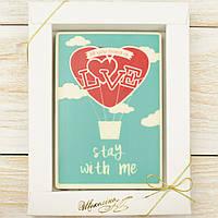 "Шоколадная открытка ""Love stay with me"" классическое сырье. Размер: 187х142х10мм, вес 170г, фото 1"