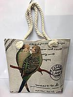Пляжная летняя сумка на канатных ручках «Попугайчики»