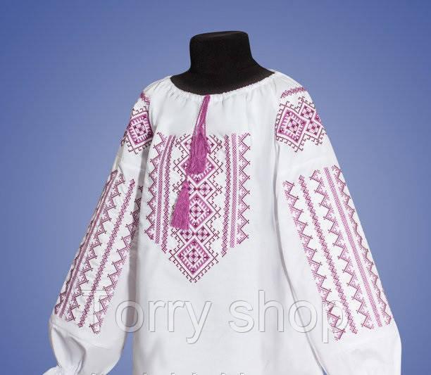 Вышитая сорочка для девочки с геометричным орнаментом