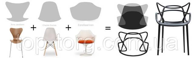 Стулья  Masters Kartell Philippe Starck. Пластиковые стулья разных цветов с переплетающимеся линиями. Купить в Киеве