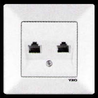 Розетка телефонная двойная VIKO MERIDIAN белая (90970033)