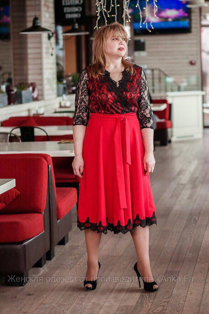 Женское платье с кружевом баталл
