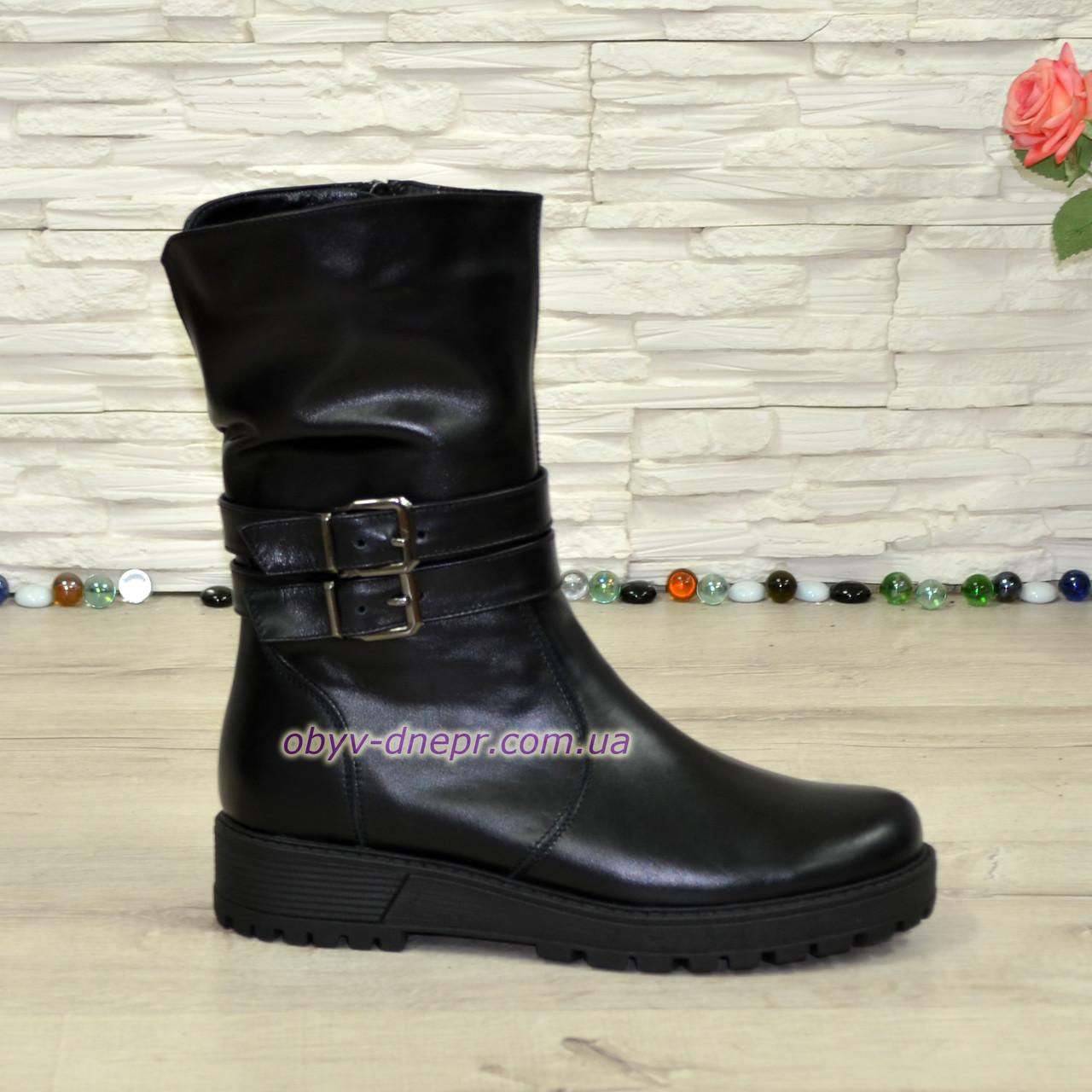 Ботинки кожаные черные женские   на утолщенной подошве