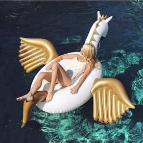 Надувной матрас для плаванья Единорог Золотой (надувной единорог), 240х240х120 см