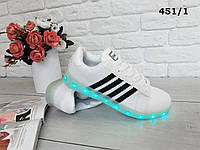 Кроссовки с LED подсветкой. иск.кожа USB кабель для зарядки 7 цветов 11 режимов подсветки