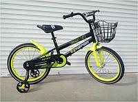 Спортивный подростковый велосипед topRider-01 с корзиной 18 дюймов  цвет желтый