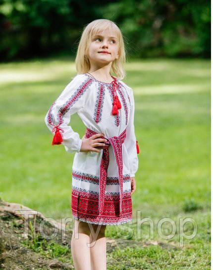 Вышитое детское платье  на домотканном лене, красно-черный орнамент