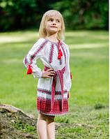 Вышитое детское платье  на домотканном лене, красно-черный орнамент, фото 1