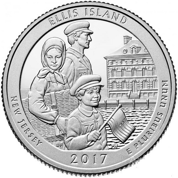 США, 25 центов 2017, 39 Парк , штат Нью-Джерси, Национальный парк Остров Эллис
