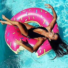 Надувной круг для плаванья Пончик (надувной круг большой), 120 см
