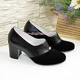 Женские классические черные туфли на каблуке, декорированы фурнитурой. Натуральная замша и кожа, фото 4