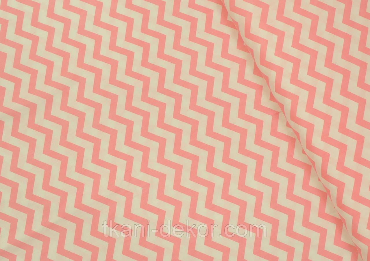 Сатин (бавовняна тканина) середній рожевий зигзаг (компаньйон міккі) (Шлюб точки через кожні 60см)