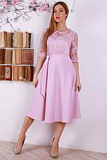 Красивое нежное платье с пояском, украшенное евросеткой с вышивкой, фото 2