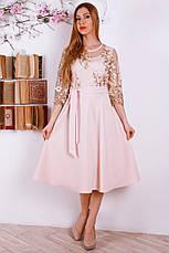 Красивое нежное платье с пояском, украшенное евросеткой с вышивкой, фото 3