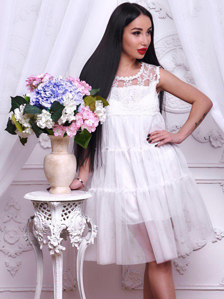 ebe4c9a83be Потрясающее белое платье из шифона - Интернет-магазин