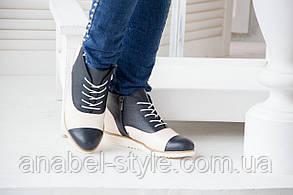 Полуботинки из натуральной кожи осень-весна черный+белый шнуровка и молния код 1389 AR, фото 2