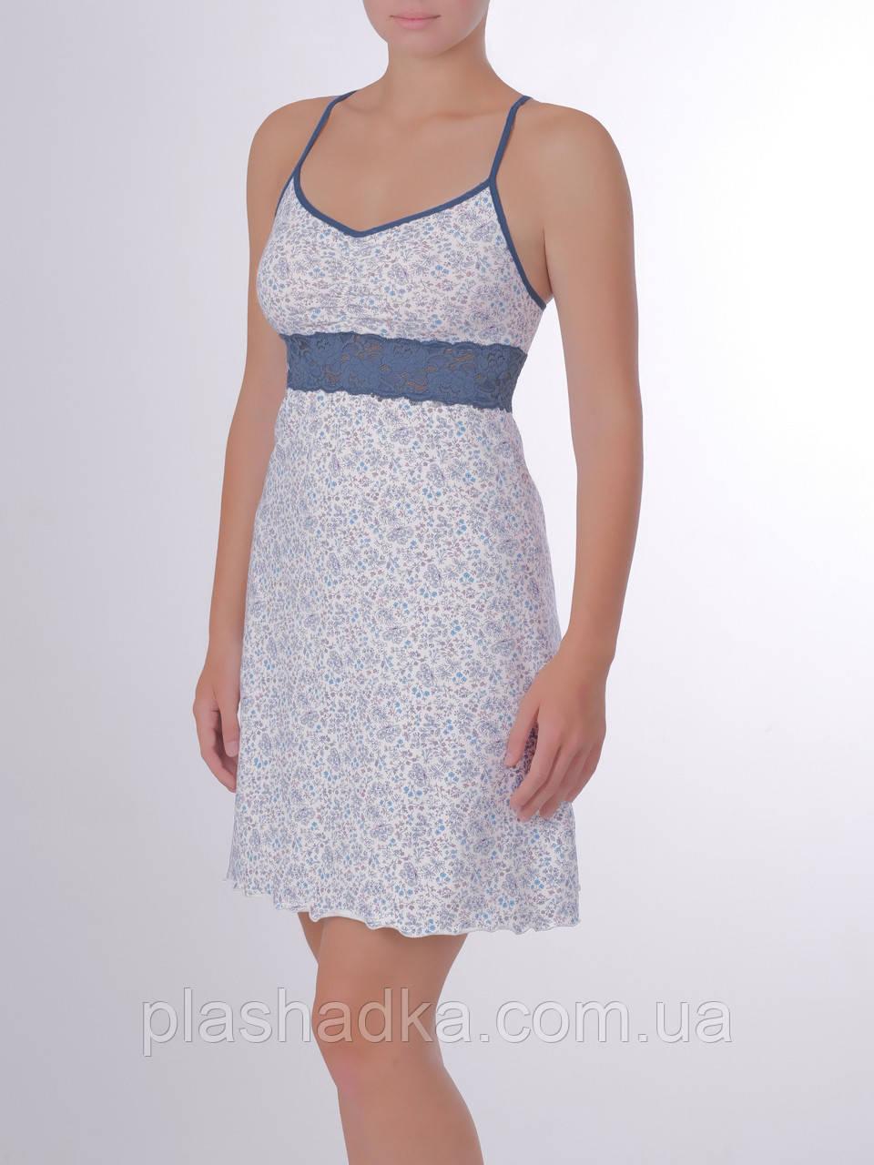 Женская ночная сорочка в цветочный принт, василек+индиго
