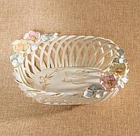 Конфетница фарфоровая овал с розами