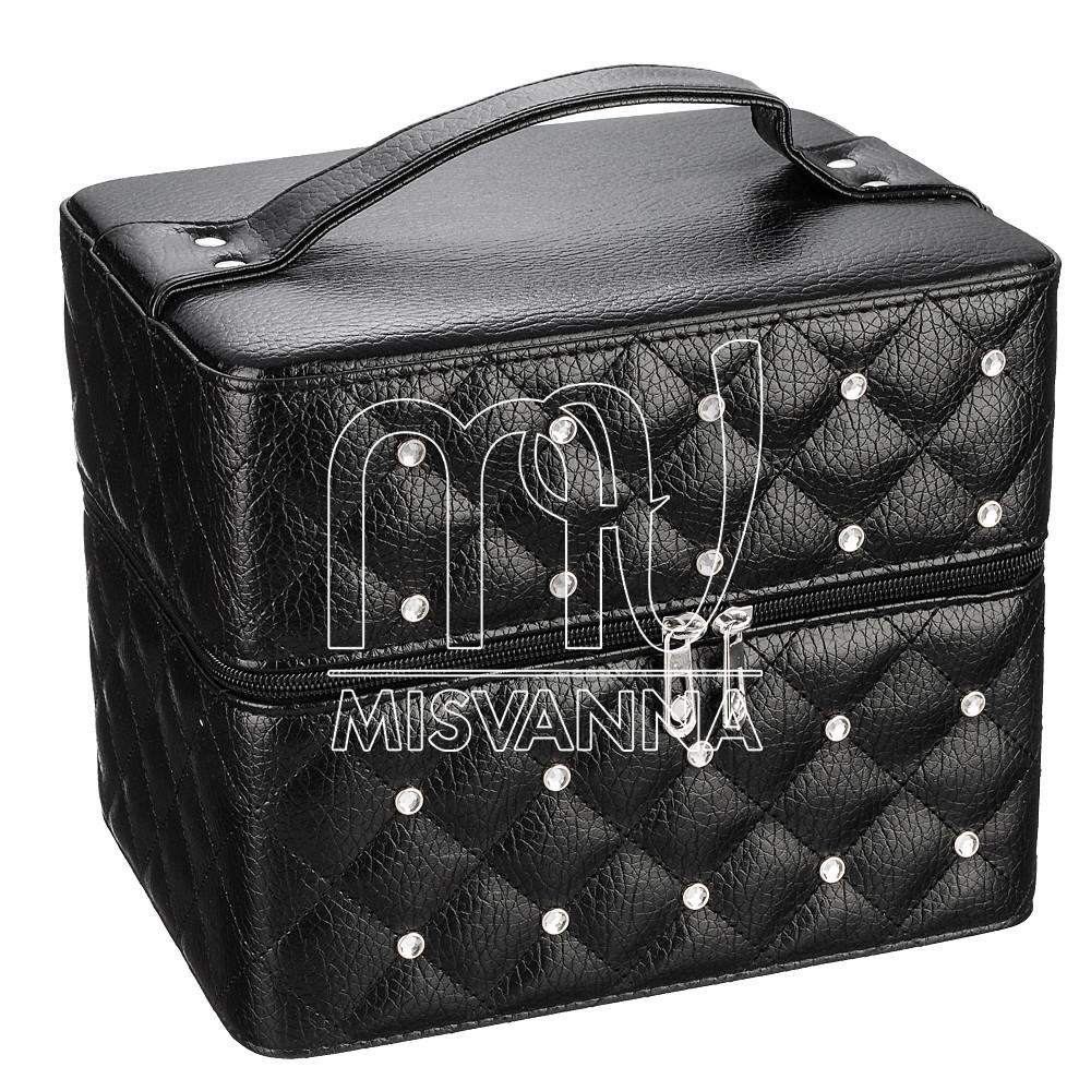 Чемодан, сумка, кейс для косметики со стразамы, черный