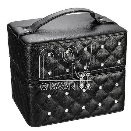 Чемодан, сумка, кейс для косметики со стразамы, черный, фото 2