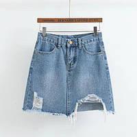 Юбка джинсовая женская рваная